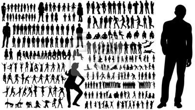 Fototapete Sammlung von Silhouetten von Menschen Männer und Frauen