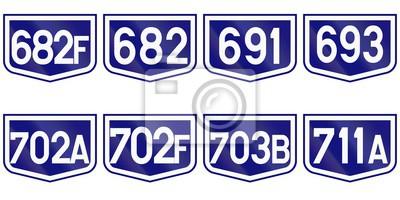 Sammlung von Straßenmarkierungen für Landstraßen in Rumänien