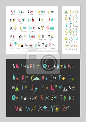 Sammlung von süßen Alphabeten. Briefe und Wörter, Naturereignisse, Flora und Fauna. Lesen lernen. Isoliert.