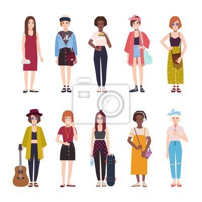 Sammlung Von Teenager Madchen In Trendige Kleidung Gekleidet Fototapete Fototapeten Jugendliche Junge Frau Myloview De