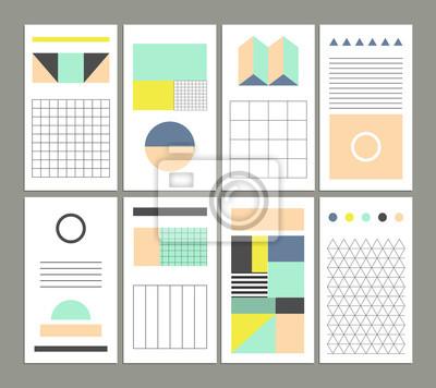 Sammlung von universellen Karten. Vorlagen mit geometrischen Formen
