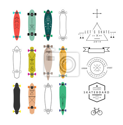 Sammlung von verschiedenen geformten skateboards und longboards. Jahrgang