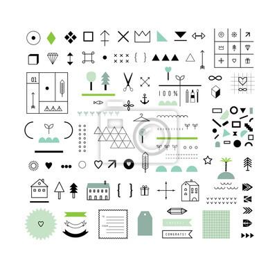 Sammlung von verschiedenen geometrischen Formen, Dekor-Elemente