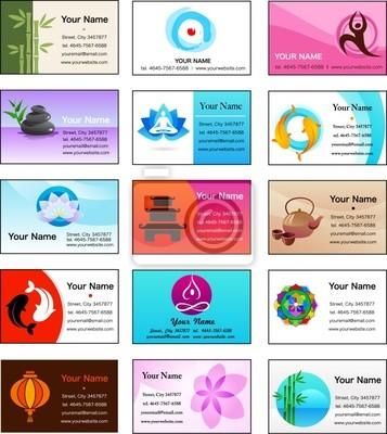 Sammlung Von Yoga Und Zen Visitenkarten Fototapete