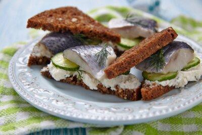 Fototapete Sandwich mit Hering