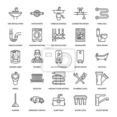 Beliebt Sanitär-service vektor flache linie symbole. haus badezimmer JE01