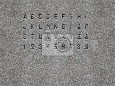 Sans-serif Schriftart auf Granitstein gemeißelt