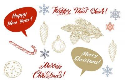 Satz bunte Weihnachtselemente, -dekorationen und -beschriftung. Vektor-Illustration.