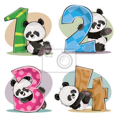 Fototapete Satz Des Netten Babypandabären Mit Zahlen Vector  Karikaturillustration. Clipart Für Grußkarte Für Kindergeburtstag,