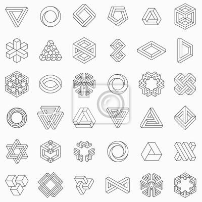 Fototapete Satz geometrische Elemente, unmögliche Formen, lokalisiert auf Weiß, Linie Design, Vektorillustration