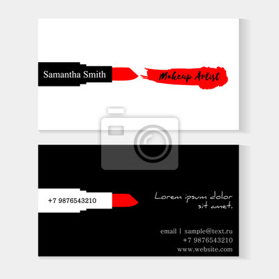 Satz Maskenbildner Visitenkarten Schwarz Weiß Vektor