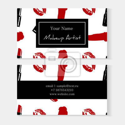Fototapete Satz Maskenbildnervisitenkarteschablone Mit Nahtlosem Musterhintergrund Der Kosmetik Roter Spurnkuss Lippendruck Und Lippenstiftausstrich