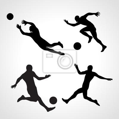 Satz Schattenbilder von dynamischen wirft Fußballspieler auf
