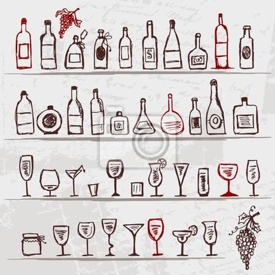 Satz von Alkohol Flaschen und Weingläser auf Grunge-Hintergrund