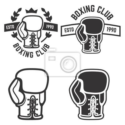Satz von box-club embleme vorlagen isoliert auf weiß backgroun ...