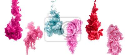 Fototapete Satz von bunten Tinte isoliert auf weißem Hintergrund. Rot, rosa, blauer Tropfen, der unter Wasser wirbelt Wolke von Tinte in Wasser.