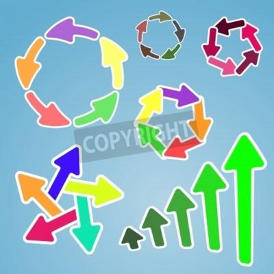 Satz von Cartoon bunte Pfeile, gruppiert in verschiedenen Formen
