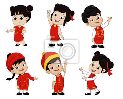 Satz von cartoon chinesische kinder, glückliches chinesisches ...