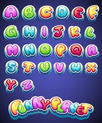Fototapete Satz von Cartoon farbigen Buchstaben für die Dekoration von verschiedenen Namen