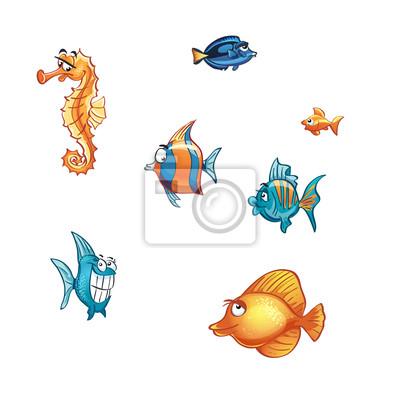 Satz von Cartoon Meeresfische und Rochen.