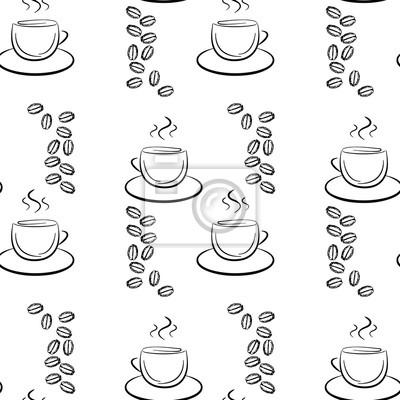 Satz Von Cute Hand Gezeichnet Kaffeetasse Nahtlose Muster Schwarz