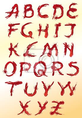 Satz von dekorativen roten Buchstaben