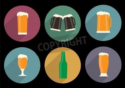 Fototapete Satz von flachen Bier Symbole mit langem Schatten