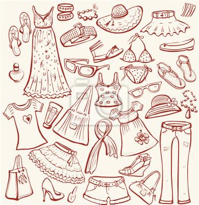 Satz von Frau Sommer Kleidung und Accessoires