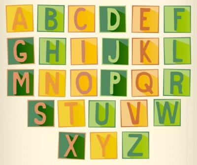 Satz von grünen und orange Großbuchstaben Buchstaben auf Platz mit Rahmen