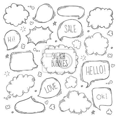 Fototapete Satz von Hand gezeichnete Skizze Speach bubbles. Vektor-Illustration.