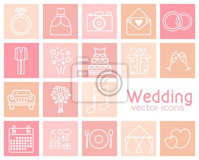Satz von Hochzeit Vektor-Icons. Hochzeitskleid, Anzug, Auto, Verlobungsring, Brautstrauß, etc.