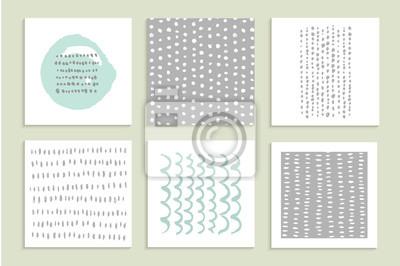 Satz von Karten. Handgezeichneten Texturen mit Tinte. Vektor.