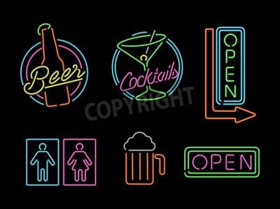 Fototapete Satz von Retro-Stil Neonlicht Umriss Zeichen Symbole für Bar, Bier, offenes Geschäft, Cocktail-und Bad-Symbol.