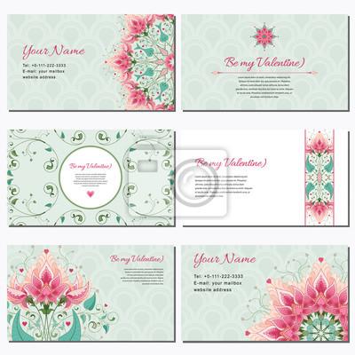 Satz Von Sechs Horizontalen Visitenkarten Fantasy Blumen