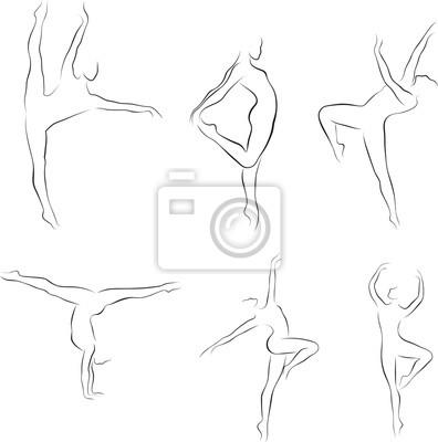 Satz von tanzenden frauen umreißen silhouetten, vektor-illustration ...