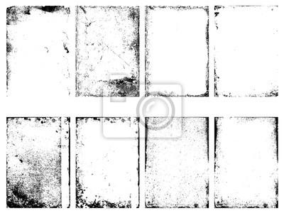 Fototapete Satz von Vektor-Grunge-Texturen isoliert auf weißem Hintergrund.
