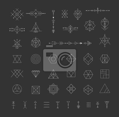 Satz von Vektor trendy geometrische Symbole. Alchemy Symbole Sammlung