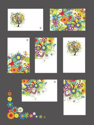Satz von Visitenkarten, floral Ornament für Ihr Design