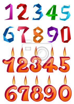 Sätze von dekorativen Zahlen für Ferien-Design