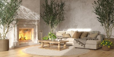 Fototapete Scandinavian farmhouse style beige living room interior with natural wooden furniture and fireplace. Mock up wall background. 3d render illustration.
