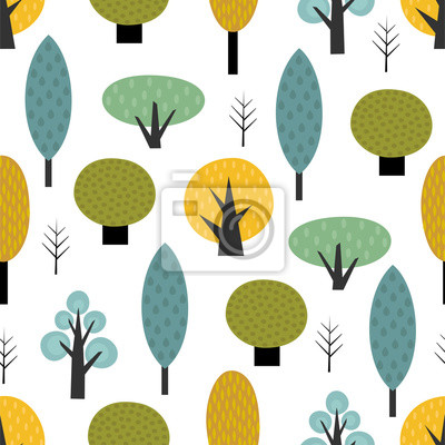 Fototapete Scandinavian style trees seamless pattern on white background. Cute forest vector illustration. Design for textile, wallpaper, fabric.