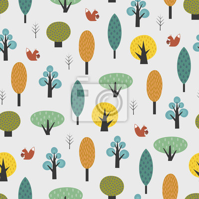 Fototapete Scandinavian style trees with baby squirrel seamless pattern. Cute forest vector illustration. Design for textile, wallpaper, fabric.