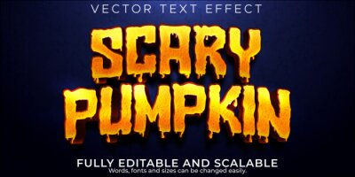 Fototapete Scary pumpkin text effect, editable dead and witch text style
