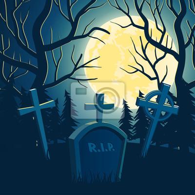 Scary Vektor Halloween Hintergrund mit alten Friedhof, Vollmond und Bäume