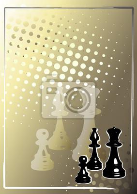Schach Goldener Plakathintergrund