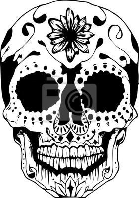 Schädel Linie Kunst für Tattoo oder Hintergrund mit weißem Hintergrund