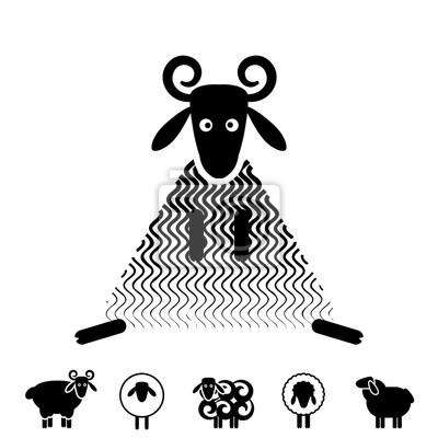 Schaf Oder Ram Icon Logo Schablone Piktogramm Fototapete