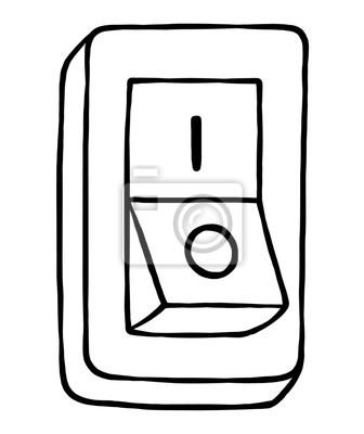 Fototapete Schalter / Cartoon Vektor und Illustration, schwarz und weiß, Hand gezeichnet, Skizze Stil, isoliert auf weißem Hintergrund.