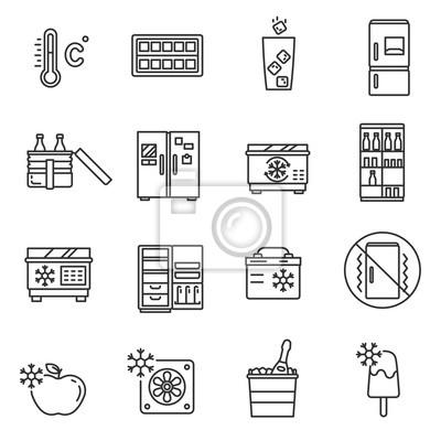 Schaltflächenset. kühlung produkte, dünne linie design. kühlschränke ...