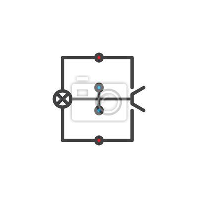 Schaltplan gefüllte entwurfsikone, linie vektorzeichen, lineares ...